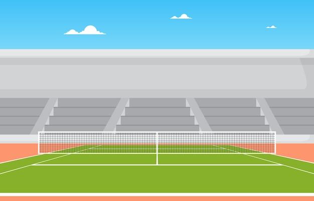 야외 테니스 코트 스탠드 스포츠 게임 레크리에이션 만화 풍경
