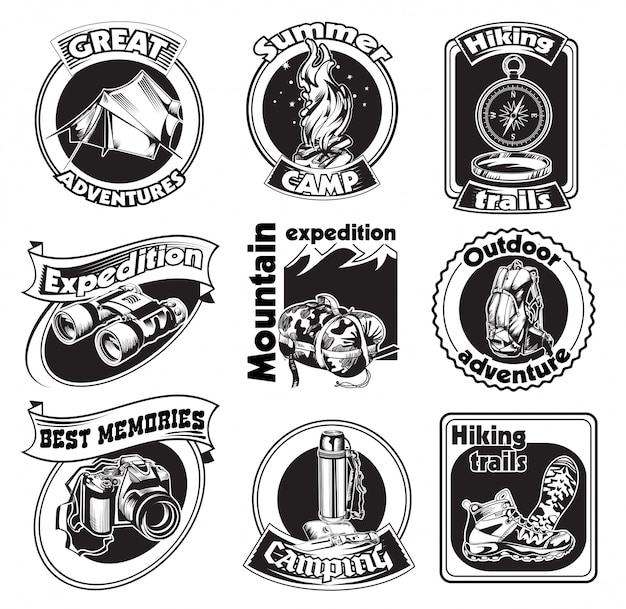 Outdoor tourism badge set