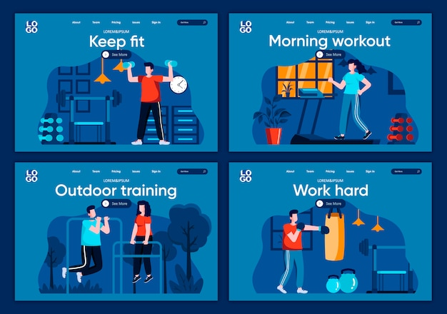 屋外トレーニングフラットランディングページセット。ランニング、ダンベルの持ち上げ、webサイトまたはcms webページのパンチングバッグシーンを使ったトレーニング。健康を保つ、朝のトレーニング、一生懸命働くイラスト。