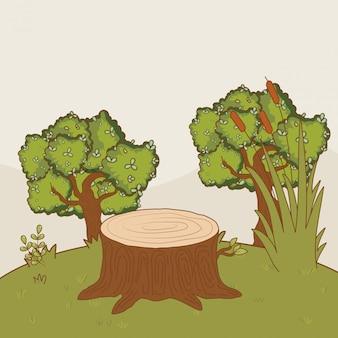 Outdoor trees cartoon