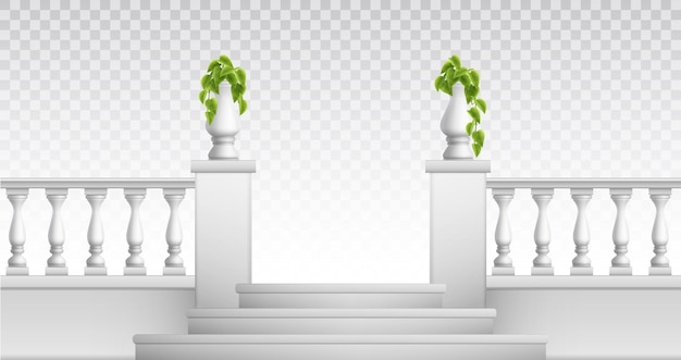Outdoor and vintage park elements so as stair balustrade decorative vases realistic