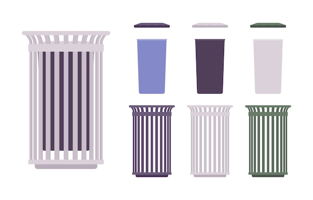 Outdoor waste bin set. receptacle construction, sidewalk trash can. city street beautification and urban  concept.   style cartoon illustration, different positions