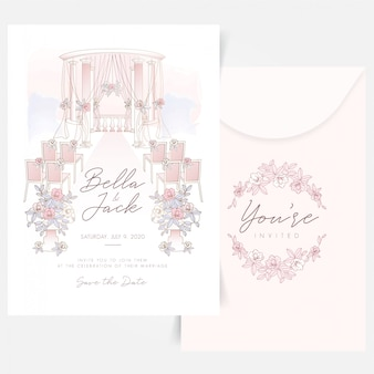 Outdoor wedding set up composition with floral logo design