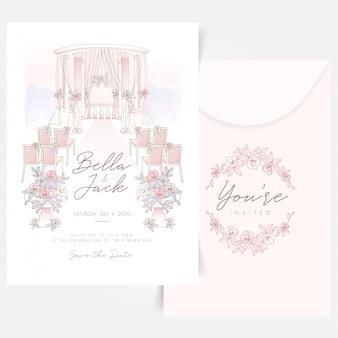 Outdoor wedding set up composition with floral logo design