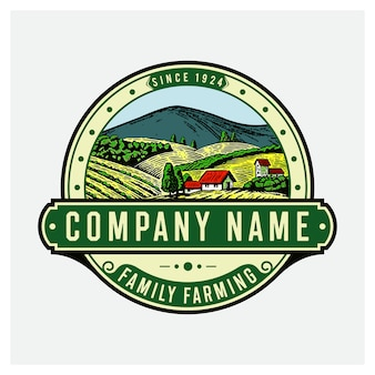 Outdoor with mountains farm logo badge