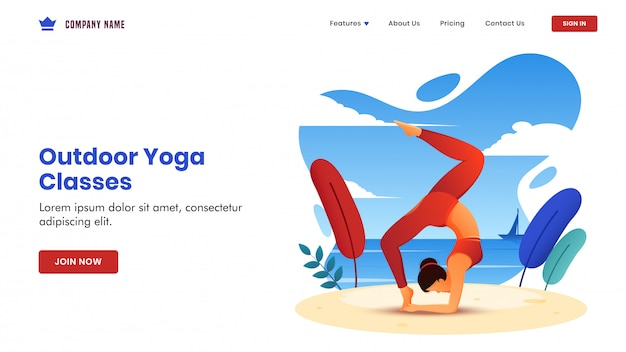 Outdoor yoga classes  based landing page  with young woman doing exercise in chakra asana pose on beach view .
