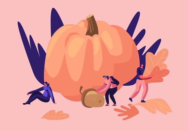 秋の季節の野外活動、幸せな男性と女性のキャラクターは、植物標本のために落ちた黄色の葉を拾うのに時間を費やします
