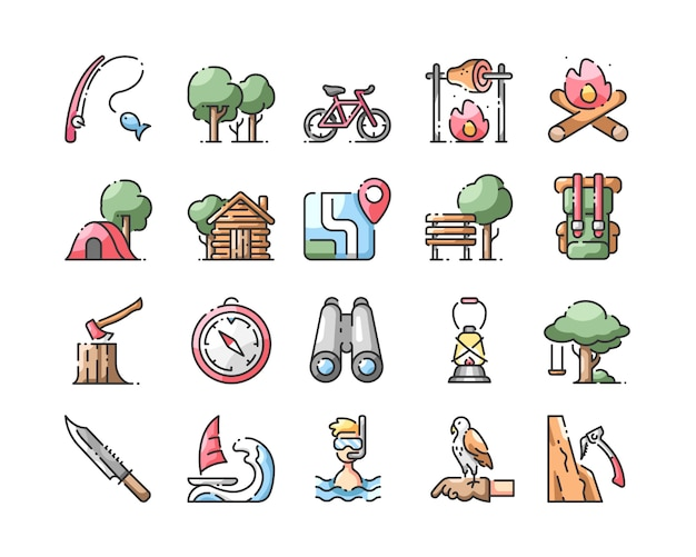 Outdoors activitis line color icons set