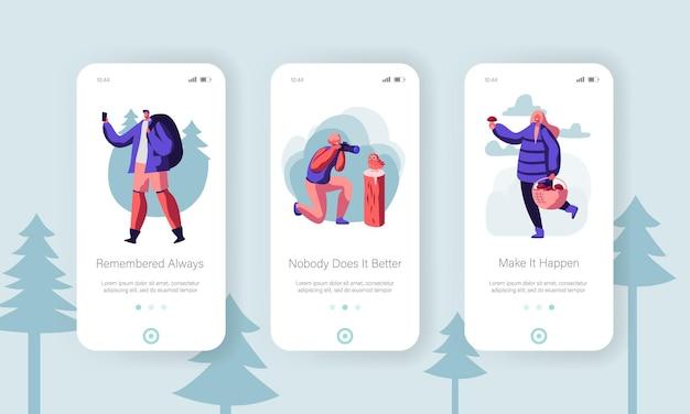 자연 개념에서 야외 활동 레저. 모바일 앱 페이지 온보드 화면 세트