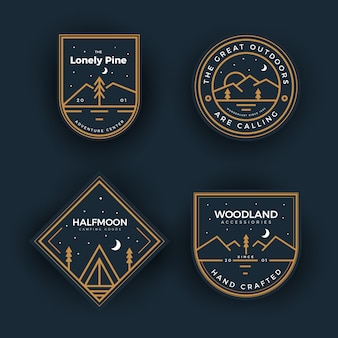 Outdoors camping badges collection