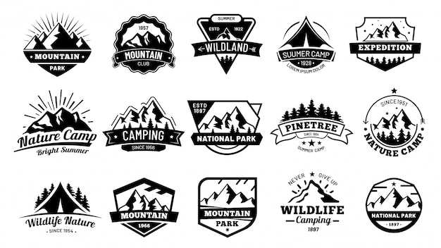 Outdoors nature badges. adventure emblem, vintage wilderness label and outdooring camping badge  illustration set