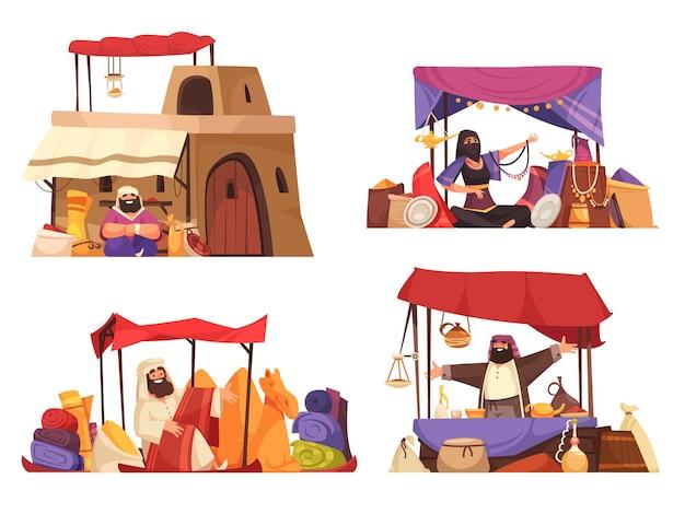 Outdoors oriental bazaar isolated illustration