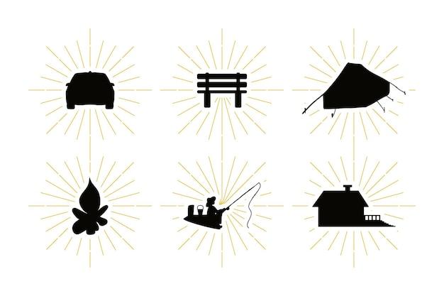 黒の形で設定されたアウトドアレクリエーションのシンボル。レジャーシルエットで設定されたカントリーレストのシンボル。ヴィンテージ旅行、旅行、アウトドアアクティビティのエンブレム。ベクター