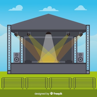 Outdoors stage background with lighting in flat design
