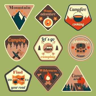 Outdoors tourism camping flat badges set of compass campfire tent and backpack isolated vector illustration