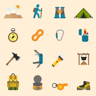 Outdoors tourism camping set design flat icons set.
