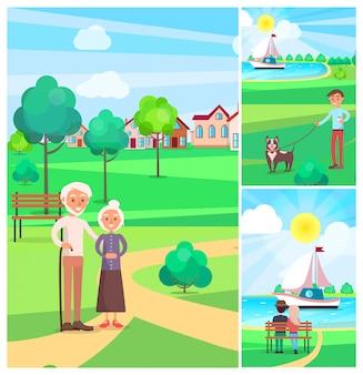 Счастливые старшие пары тратя время outdoors в иллюстрации парка. люди сидят в скамейке и мальчик гуляет с собакой.
