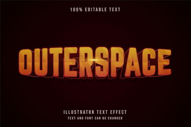 Космическое пространство, 3d редактируемый текстовый эффект желтая градация оранжевый красный стиль текста