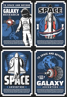 Outer space adventure, galaxy research retro posters