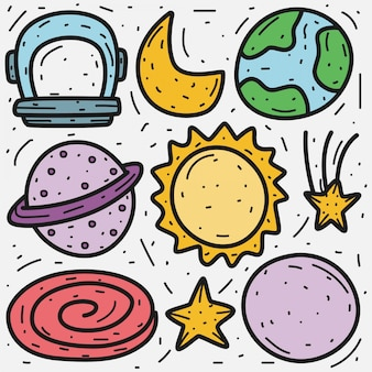 Outer space cartoon doodle  template