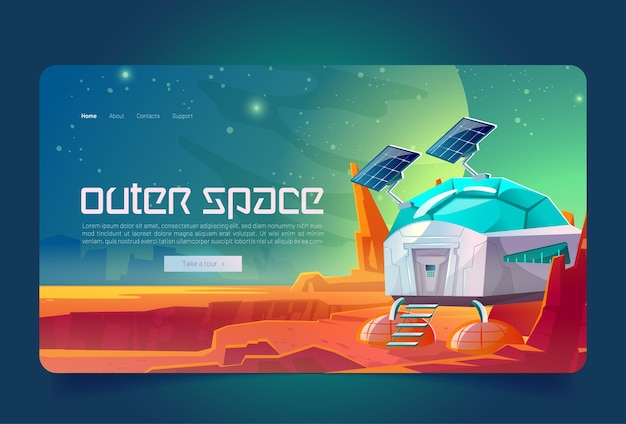 Outer space cartoon landing page scientific station on alien planet surface cosmos colonization bunk...