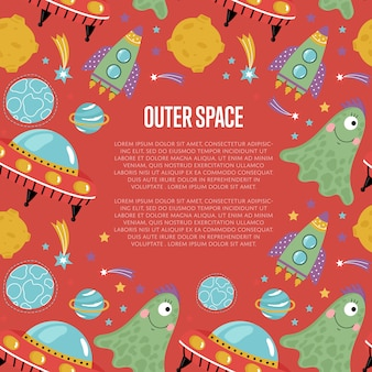 Outer space cartoon  web page template