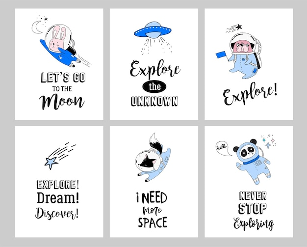 Иллюстрация концепции космического пространства. симпатичные животные-космонавты в шлемах