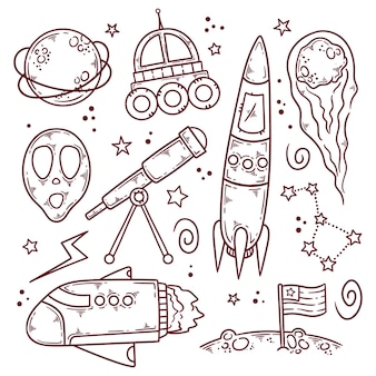 Outer space doodle collection