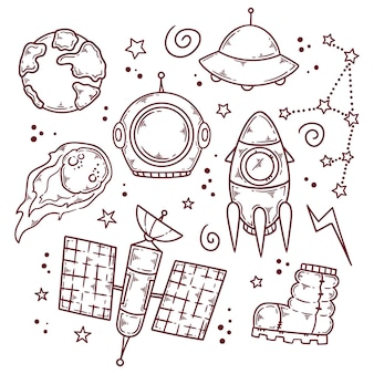 Outer space doodle illustration