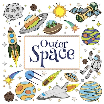Outer space doodles, symbols and design elements, spaceships, planets, stars, rocket, astronauts, satellite, comets. cartoon space icons for kids book cover. hand drawn illustration.