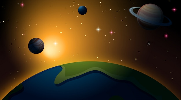 Outer space earth scene