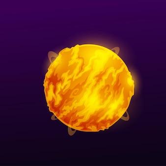 Глобус космического пространства, горящая планета в атмосфере