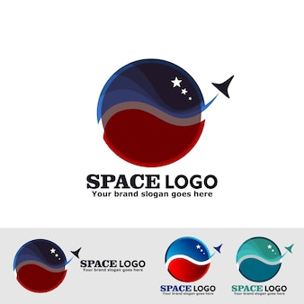 Outer space logo with rocket