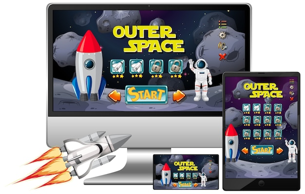 Outer space mission game on diffrent electronic screens