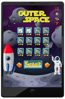 태블릿 화면의 우주 미션 게임