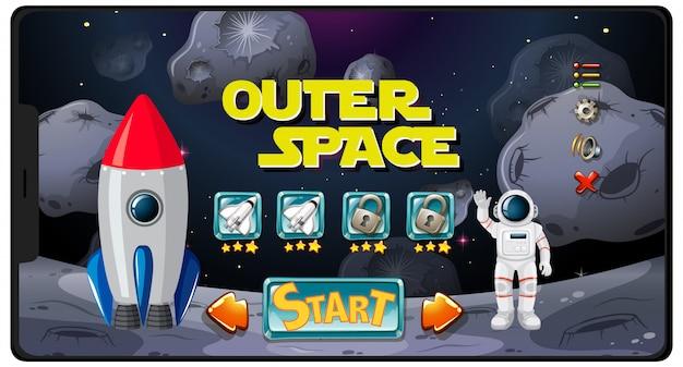 태블릿 화면에서 우주 미션 게임