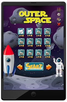 Outer space mission game on tablet screen