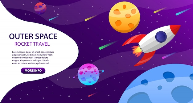 Outer space rocket travel with planets concept