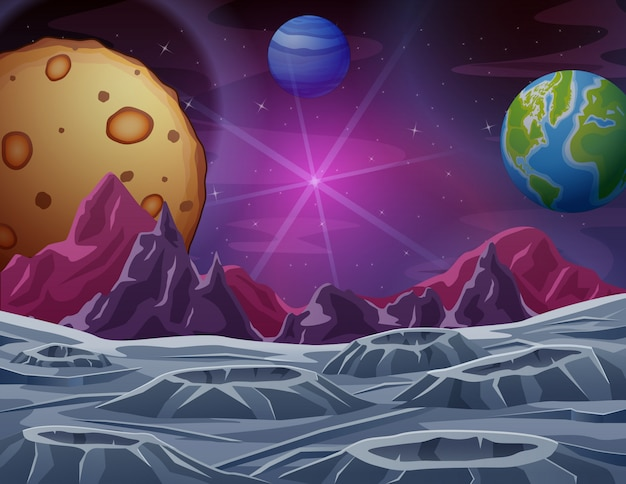 Outer space scene with many planets illustration