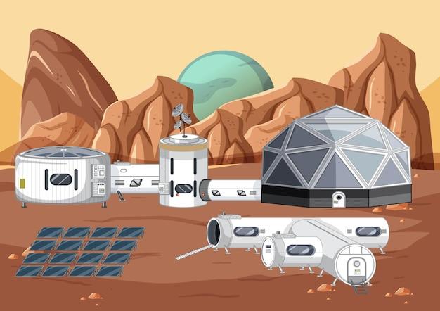 우주 정거장이 있는 우주 장면