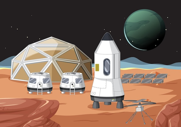 Outer space scene with spaceship and station