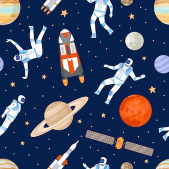 Outer space seamless pattern. print with dancing astronaut, spaceships, satellite, stars and planets. cosmic adventure flat vector texture. illustration galaxy and cosmos, wallpaper cosmic