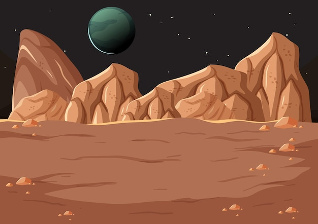 Outer space surface landscape with planet