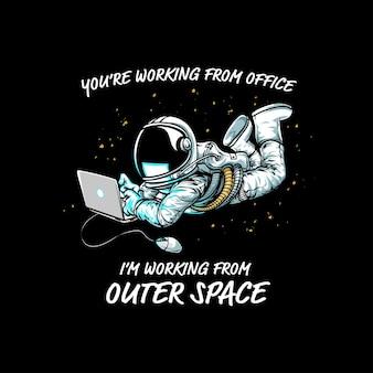 Космическое пространство с рисованной космонавтом