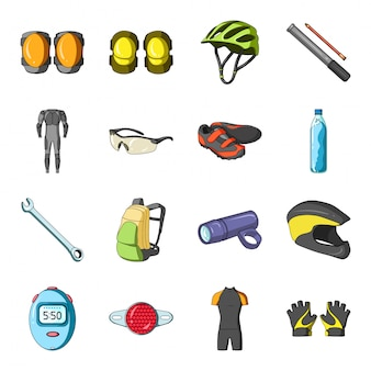 Outfit bike  cartoon set icon.  bicycle sport  . isolated cartoon set icon outfit bike .