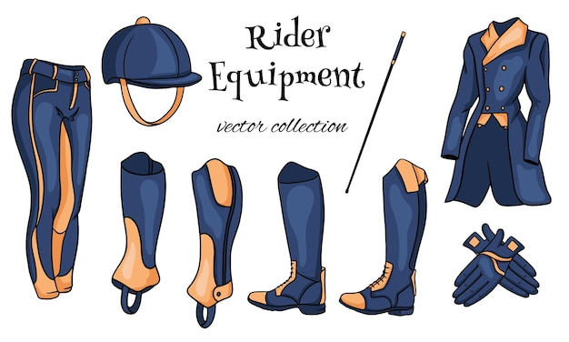 Экипировка райдера комплект одежды для жокея, сапоги, педжак, штаны, хлыстовый шлем в мультяшном стиле. коллекция иллюстраций для дизайна и декора.