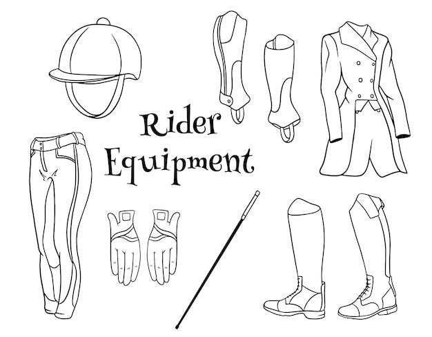 기수 부츠 pedjak 바지 채찍 헬멧 라인 스타일 색칠하기 책에 대한 복장 라이더 옷 세트. 디자인 및 장식용 삽화 모음입니다.