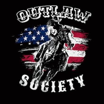 Ковбой outlaw иллюстрация тема