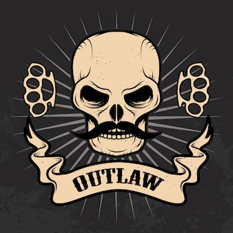 Outlaw. череп с усами