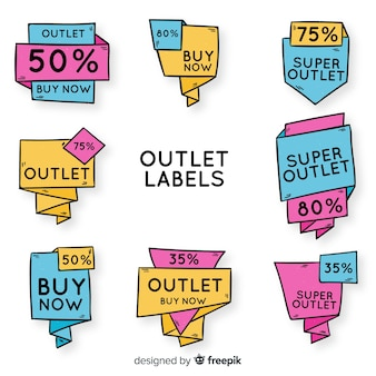 Outlet hand drawn label collection